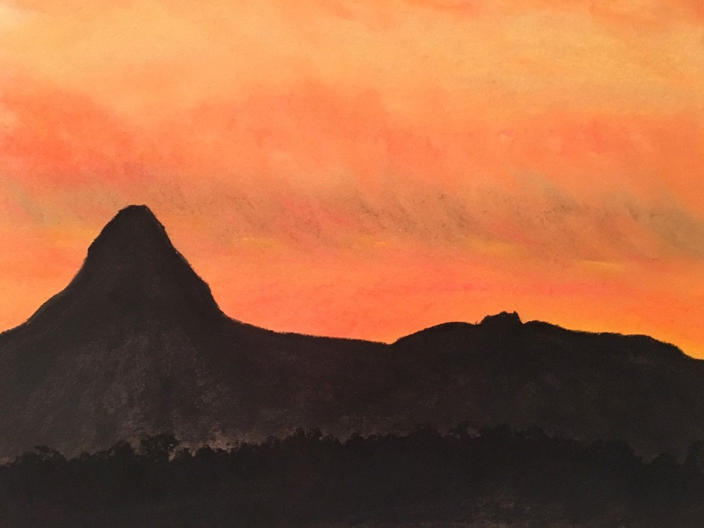 Afrika, Sonnenuntergang, Pastellkreide, DIN A3 (Jan. 2016)