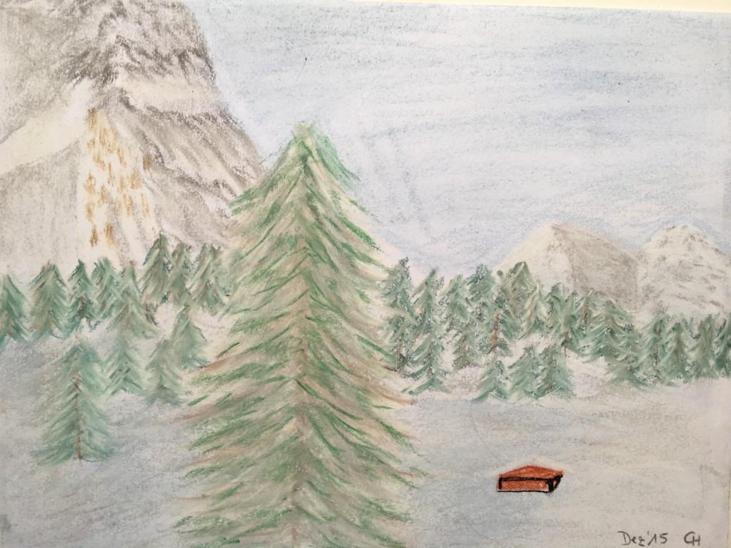 Berge, Schnee, Pastellkreide, DIN A3 (Dez. 2015)