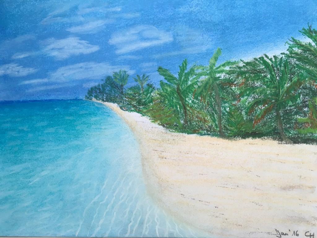 Malediven, Strand, Pastellkreide, DIN A3 (Dez. 2015)