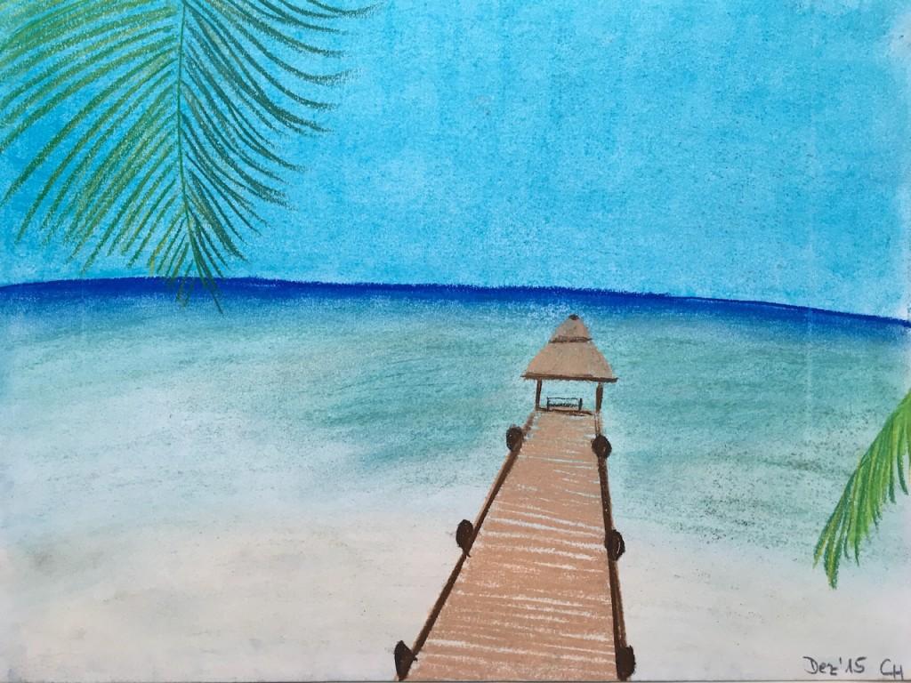 Strand, Wasser, Pastellkreide, DIN A3 (Dez. 2015)