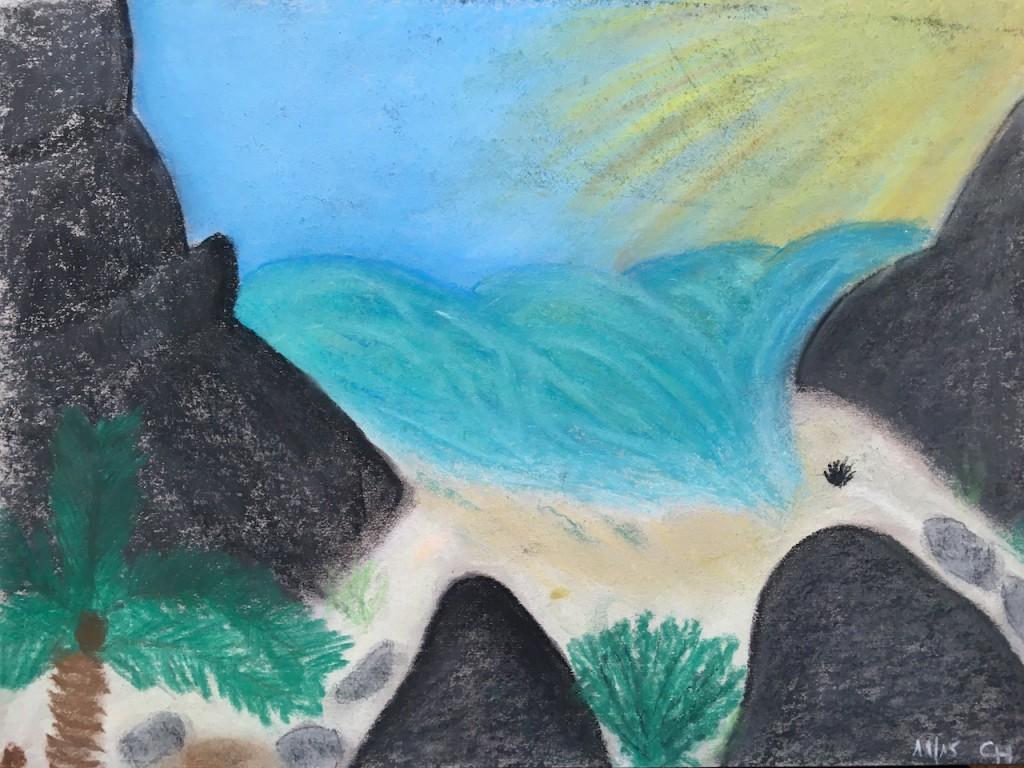 Seychellen, Strand, Pastellkreide, DIN A3 (Dez. 2015)