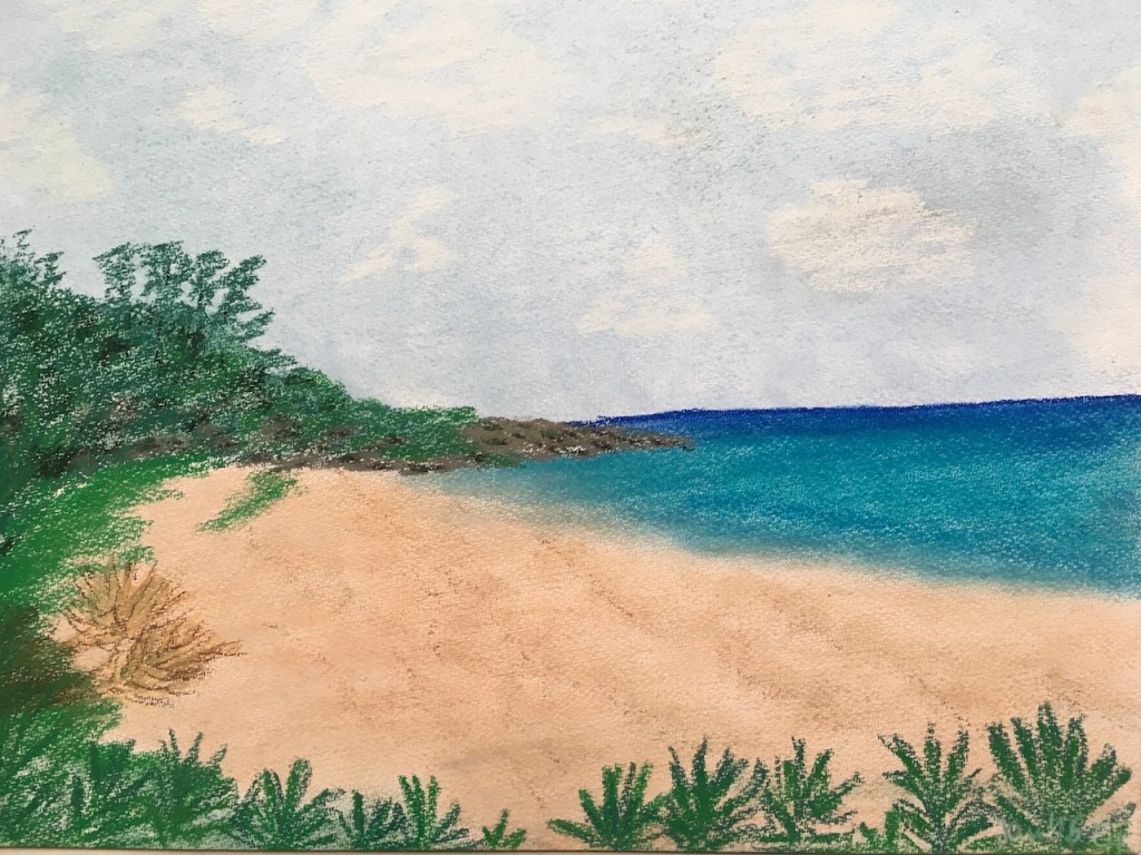 Seychellen, Strand, Pastellkreide, DIN A3 (Jan. 2016)