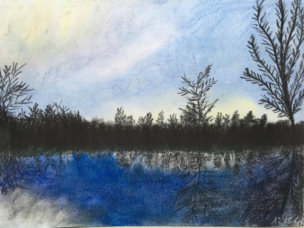 Teich, Wasserspiegelung, Pastellkreide, DIN A3 (Dez. 2015)