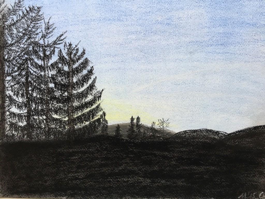 Schwarz und Blau, Pastellkreide, DIN A 3 (Dez. 2015)
