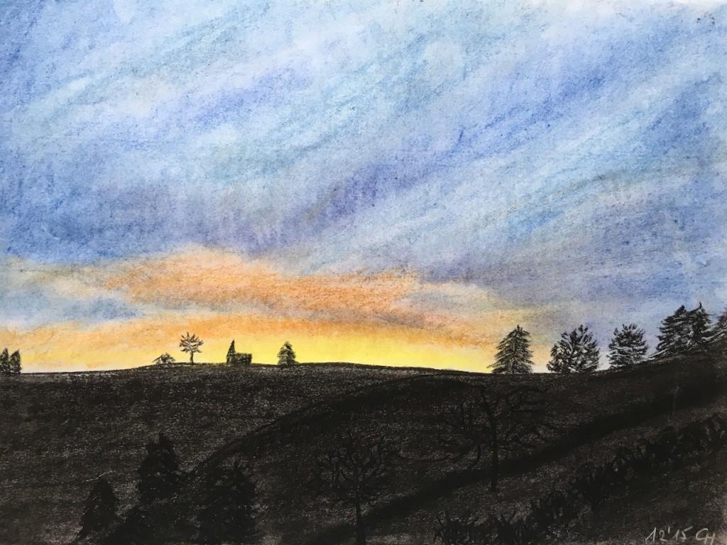 Sonnenaufgang, Pastellkreide, DIN A 3 (Nov. 2015)