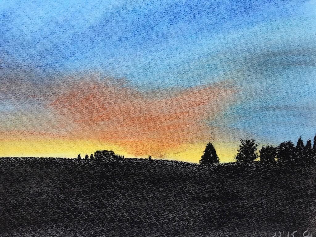 Sonnenaufgang, Pfalz, Pastellkreide, DIN A3 (Dez. 2015)