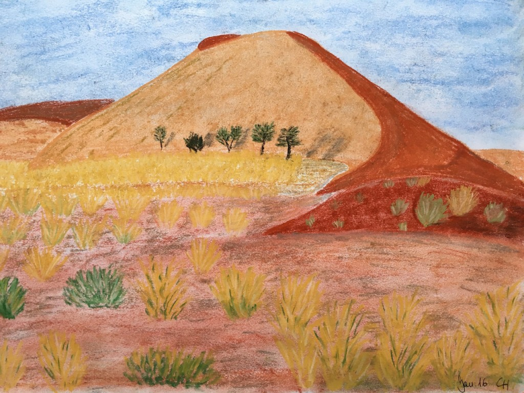 Namibia, Düne, Pastellkreide, DIN A3 (Jan. 2015)