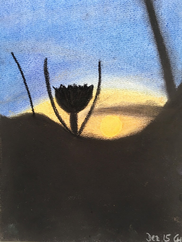 Südafrika, Sonnenuntergang, Pastellkreide, DIN A3 (Dez. 2015)