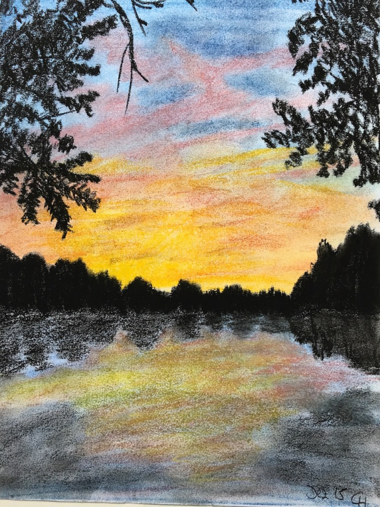 Außenalster, Sonnenaufgang, Pastellkreide, DIN A3 (Dez. 2015)