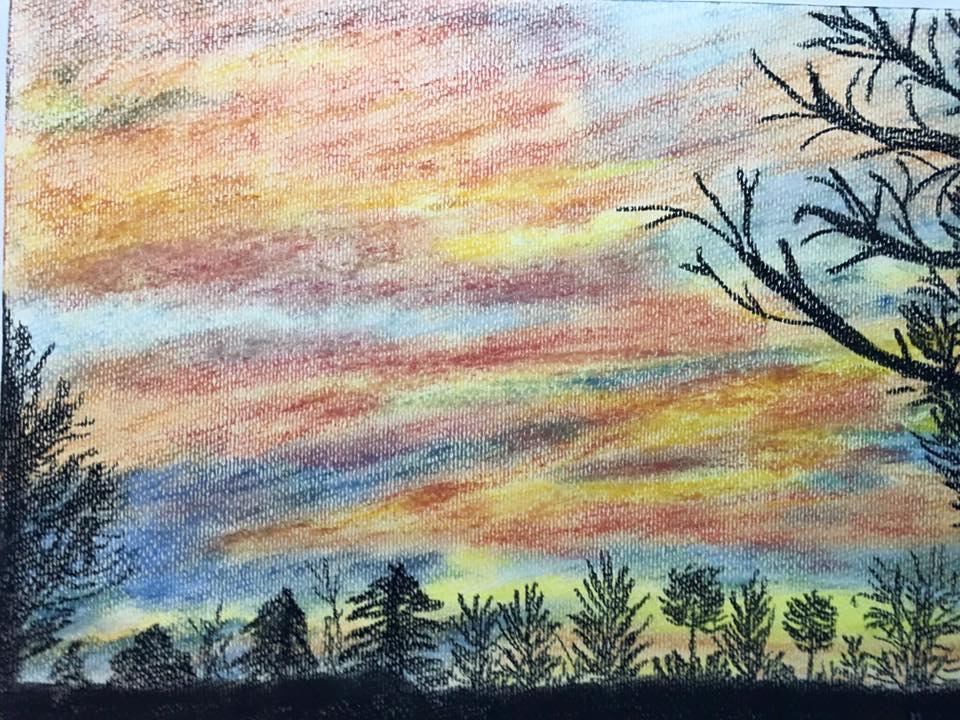 Sonnenuntergang, Pastellkreide, DIN A3 (Feb. 2016)