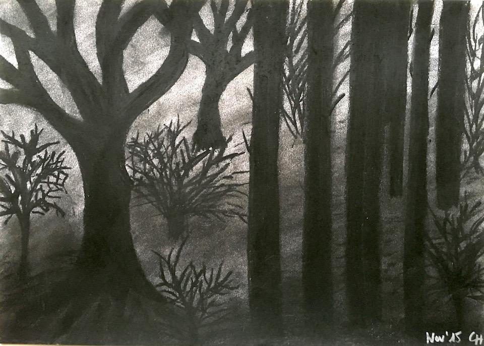 Dunkler Wald, schwarz, Pastellkreide, DIN A3 (CH Nov. 2015)
