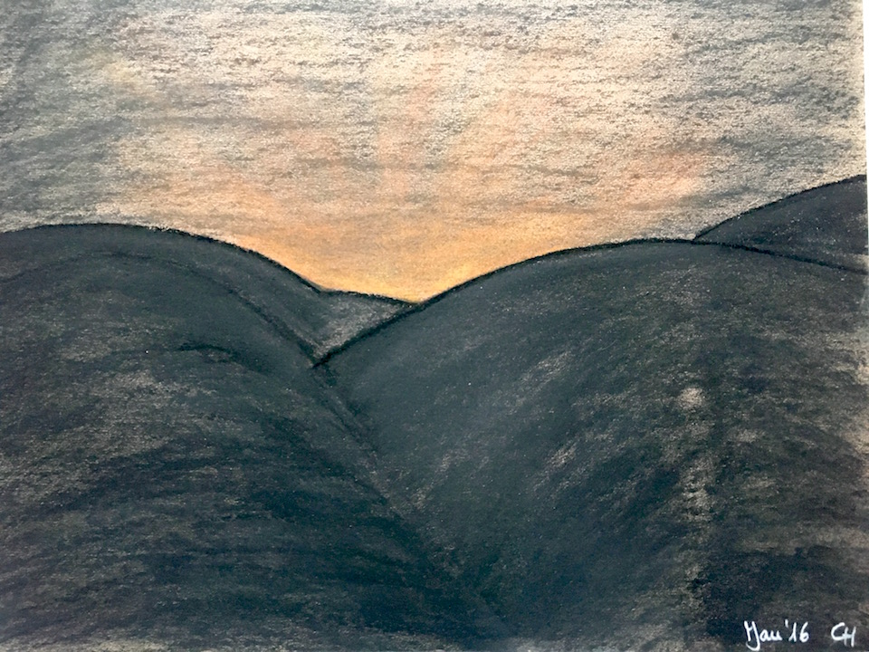 Dunkle Bergkuppen, Sonnenaufgang, Pastellkreide, DIN A3 (CH Jan. 2016)