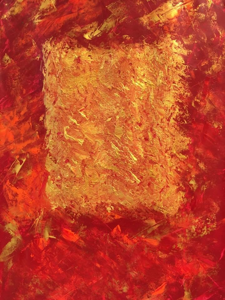 Acryl, abstract, rot-gold 1/2, DIN A2 (Jan. 2016)