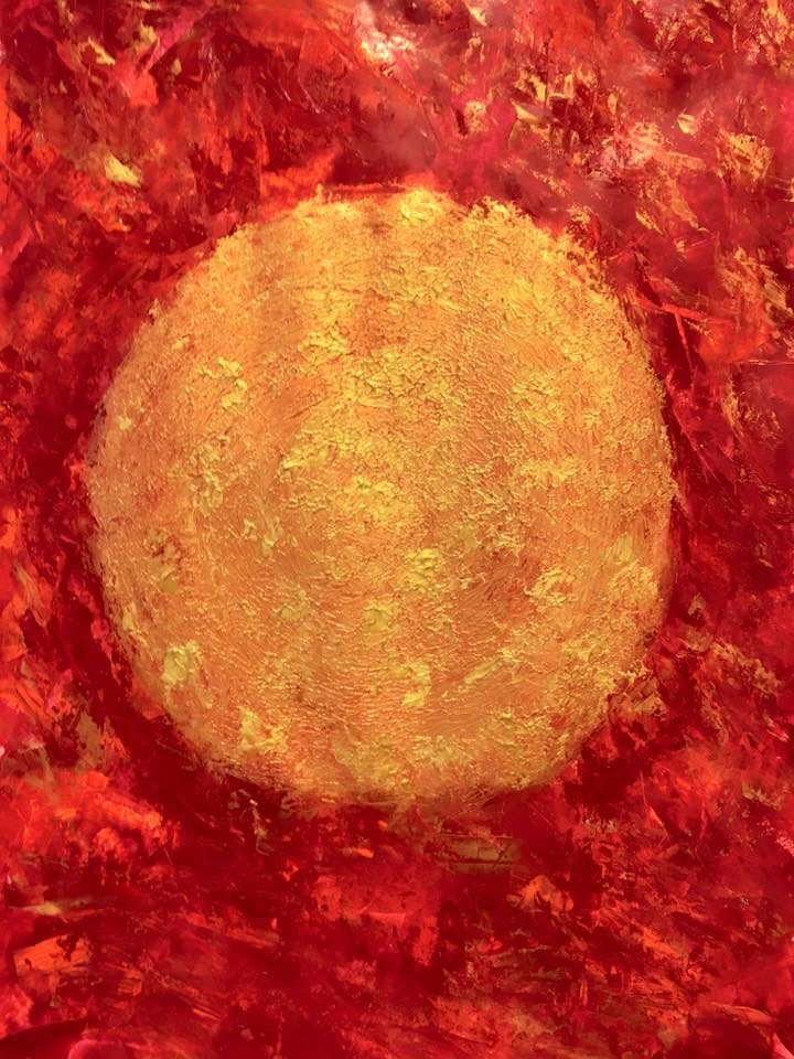 Acryl, abstract, rot-gold 2/2, hochkant DIN A2 (Jan. 2016)