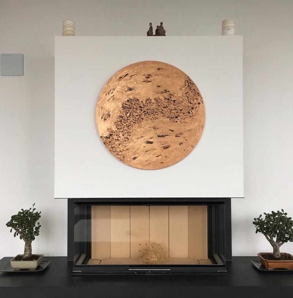 Acylic, abstract, Leinwand rund 70cm, Spachteltechnik (März. 2016)
