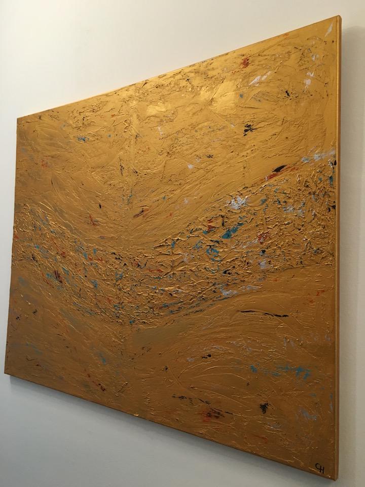 """Acrylic, abstract, """"Lebensweg"""" 1/3 Gold, Leinwand 100x80cm (Mrz. 2016)"""