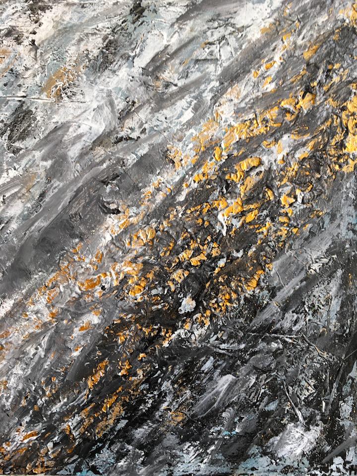 Acrylic, Goldglanz, abstract, Leinwand 50x70cm (CH Mrz. 2016)