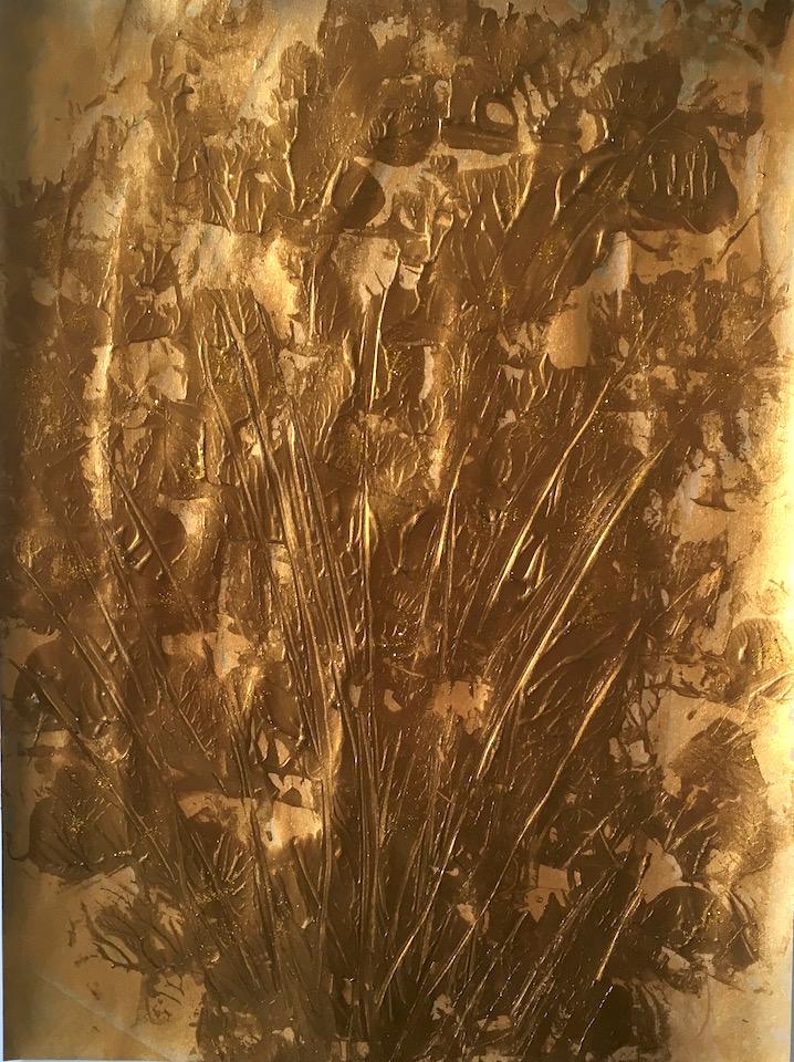 Acrylic, abstrakt, Spachteltechnik, Gold 30x40cm (CH Feb. 2016)