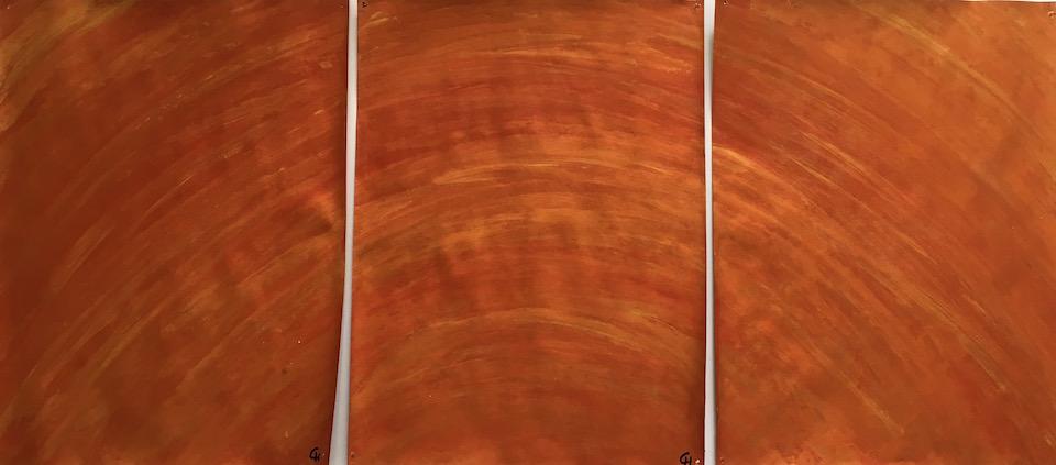 Acrylic, abstrakt, Spachteltechnik, Terrakotta/Gold 3x 30x40cm (CH Feb. 2016)