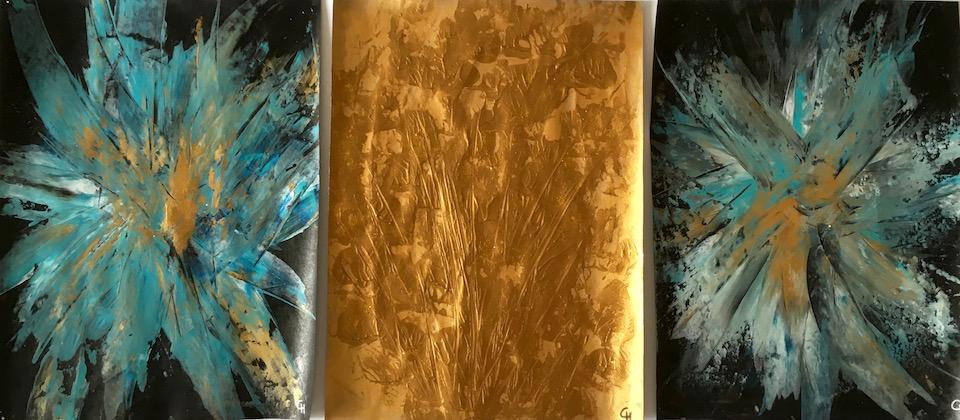 Acrylic, abstrakt, Spachteltechnik, Gold/Türkis/Schwarz, 3x 30x40cm (CH Feb. 2016)