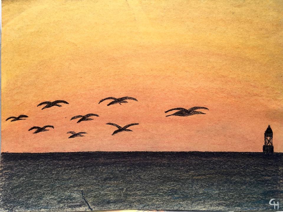 Pastellkreide, Sonnenuntergang, Meer, DIN A3 (CH Apr. 2016)