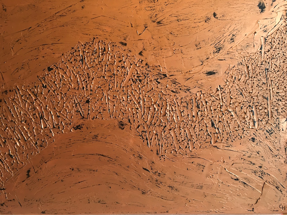"Acrylic ""Trouble"", abstract, Spachteltechnik, bronze, Leinwand 90x70cm (Mai 2016)"