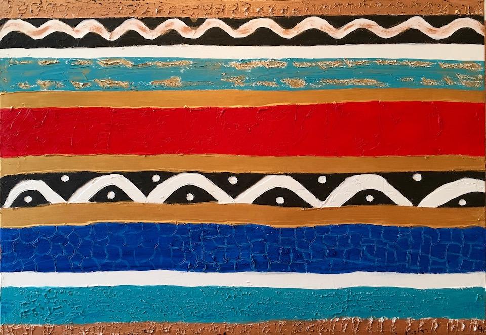 """Acrylic, """"Africa"""", abstract, Spachteltechnik, Leinwand 90x70cm (CH Mai 2016)"""
