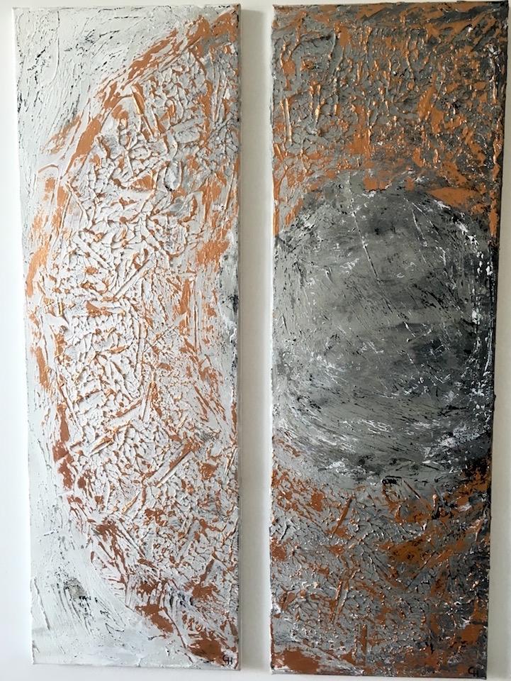 "Acrylic, Triptychon ""Bronzekreis"" (1/3 und 2/3), abstract, Leinwand 30x90cm (CH Mai 2016)"