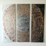 """Acrylic, Triptychon """"Bronzekreis"""", abstrakt, Spachteltechnik, 3 Leinwände 30x90cm (CH Mai 2016)"""