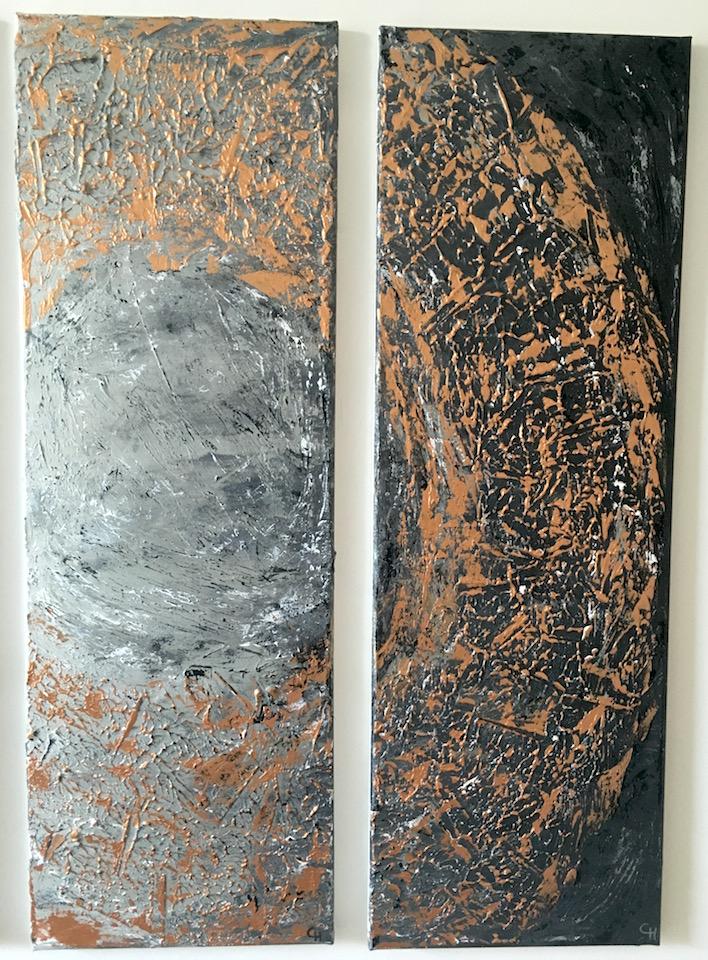 "Acrylic, Triptychon ""Bronzekreis"" (2/3 und 3/3), abstract, Leinwand 30x90cm (CH Mai 2016)"