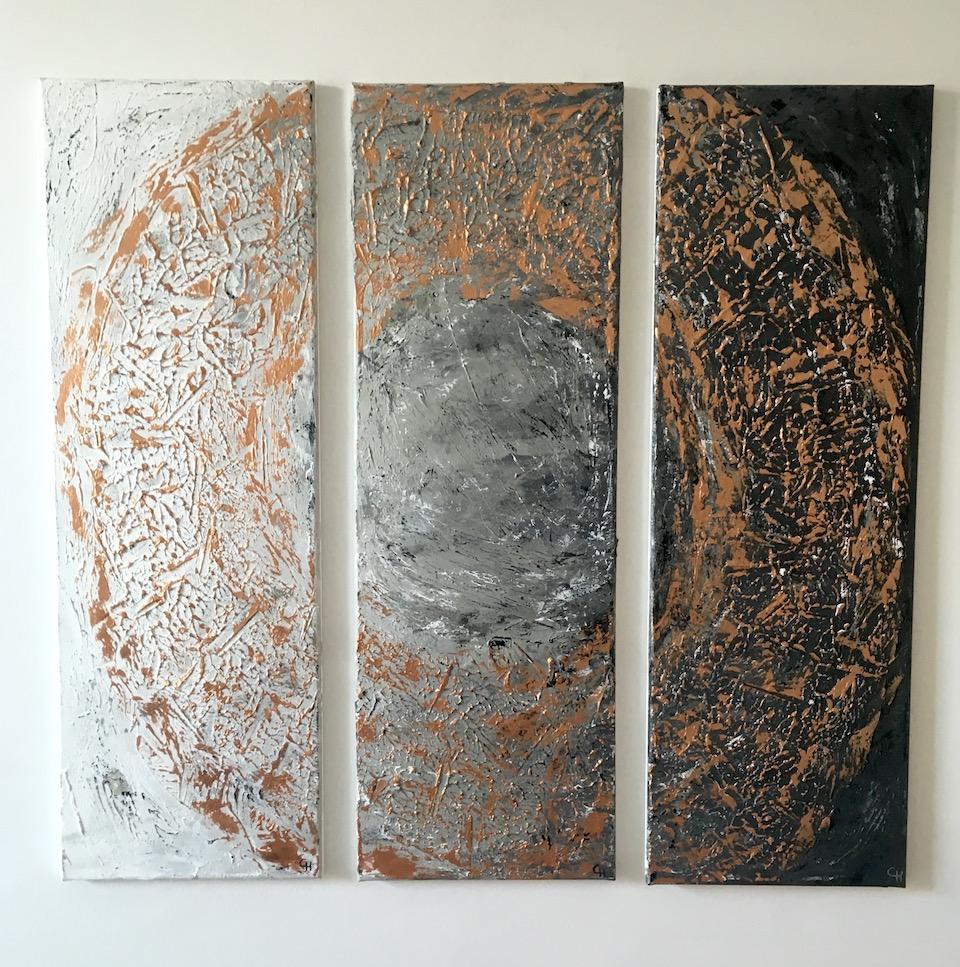 "Acrylic, Triptychon ""Bronzekreis"" (3/3), abstract, Leinwand 3x 30x90cm (CH Mai 2016)"