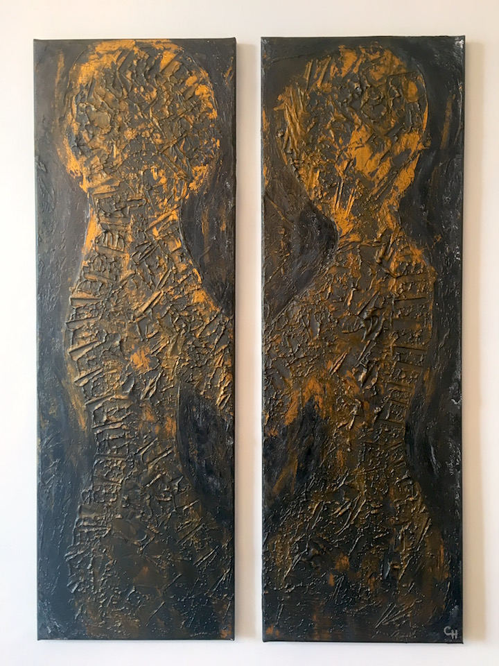 "Acrylic ""Bar Couple"", abstract, Schwarz/Gold, brushed, Spachteltechnik, Leinwand 2x 30x90cm (CH Juli 2016)"