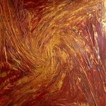 "Acrylic, abstract, ""Golden Sun"", Spachteltechnik, Leinwand 70x90cm (CH Juli 2016)"