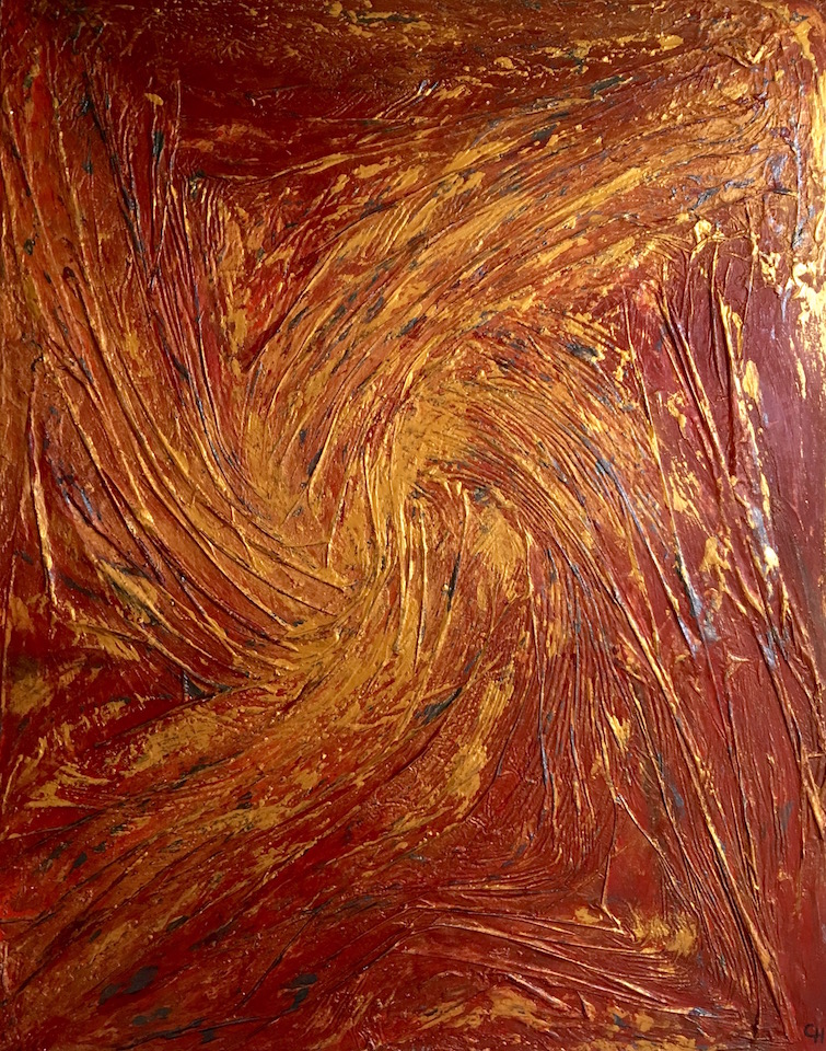 "Acrylic, abstract, ""Golden Sun"", Spachteltechnik, Leinwand 70x90cm (CH Juli 2016)"