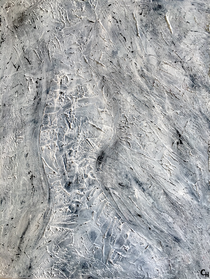 Acrylic, Grey&White, abstract, brushed, Spachteltechnik, Leinwand 60x80cm (CH Aug.2016)