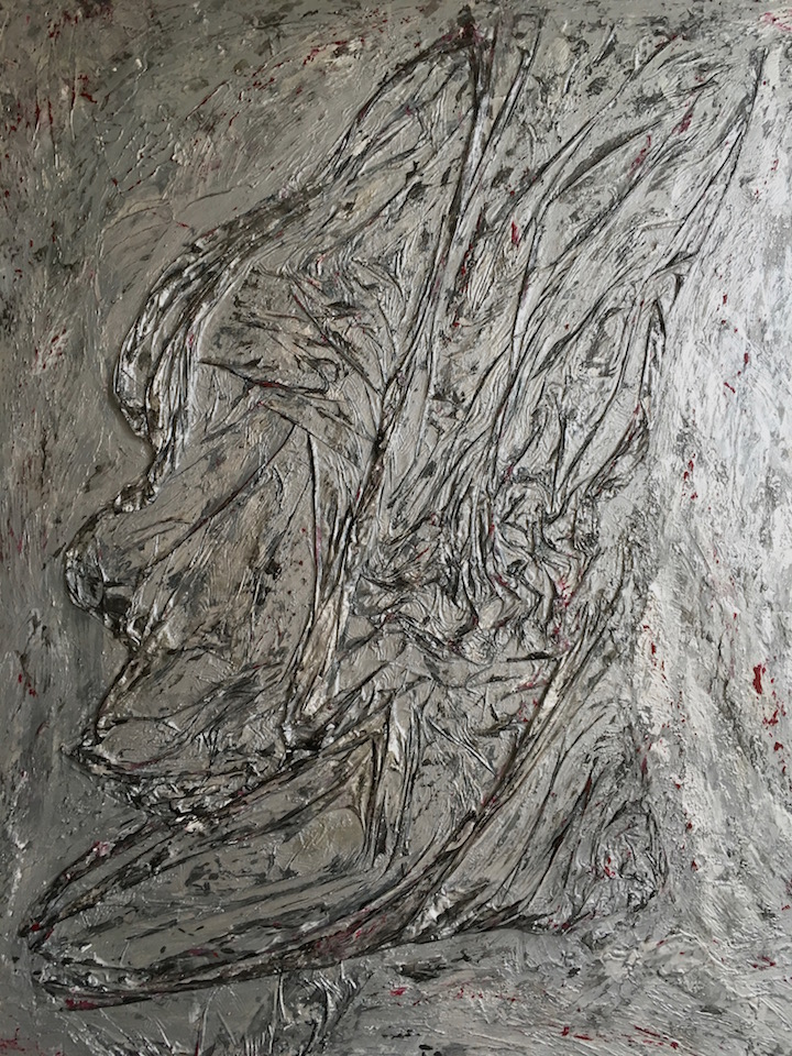 "Acrylic, abstract, ""Legionär"", Spachteltechnik, Leinwand 70x90cm (CH Juli 2016)"