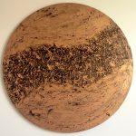 Acrylic, Bronze (rund), abstract, Spachteltechnik, Leinwand rund 70cm (CH Aug. 2016)